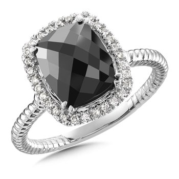 Spinel & Diamond Ring in 14K White Gold