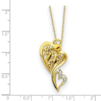 Sterling Silver & Gold-plated CZ Angel of Protection 18in Necklace