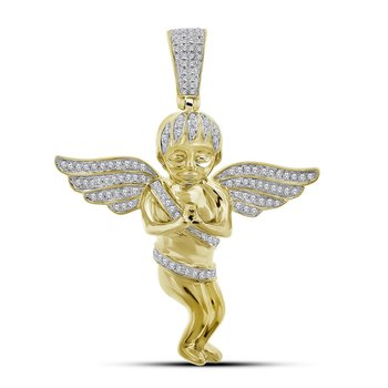 10kt Yellow Gold Mens Round Diamond Angel Wings Cherub Charm Pendant 1/2 Cttw