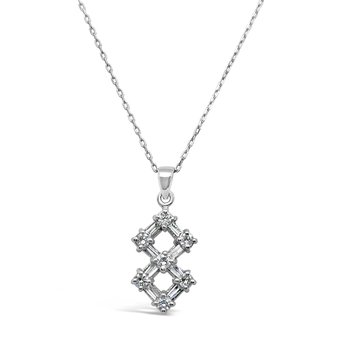 Platinum Diamond Pendant Vintage Square Necklace