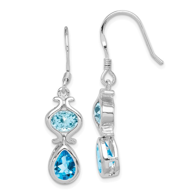 Quality Gold Sterling Silver Blue Topaz Dangle Earrings