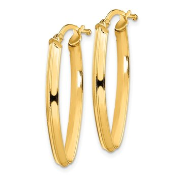 14K Small 2x2mm Pointed Oval Hoop Earrings