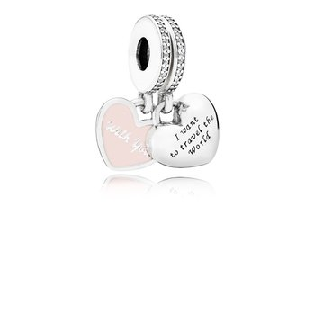 Travel Together Forever Dangle Charm, Pink Enamel & Clear CZ