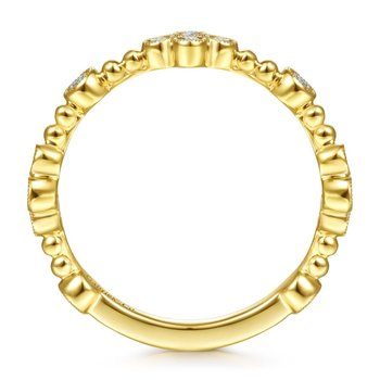 14K Yellow Gold Bezel Set Diamond Stackable Ladies Ring