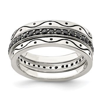 Sterling Silver Three Piece Set Antiqued & Black CZ Bands