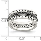 Quality Gold Sterling Silver Three Piece Set Antiqued & Black CZ Bands