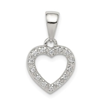 Sterling Silver Rhodium-plated CZ Heart Shape Pendant