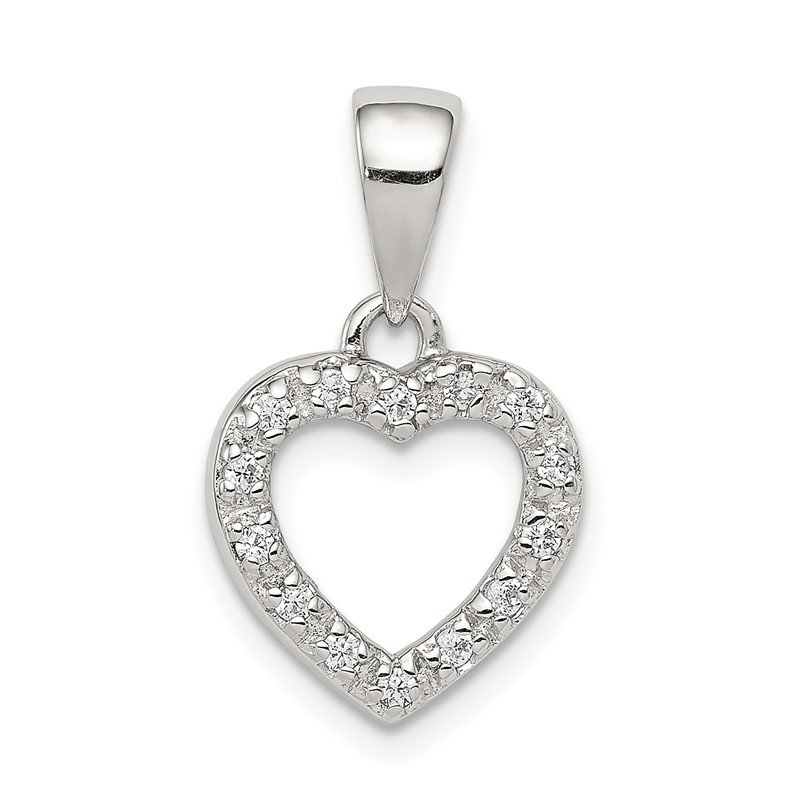 Quality Gold Sterling Silver Rhodium-plated CZ Heart Shape Pendant