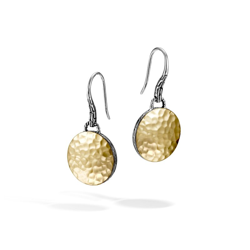 John Hardy Dot Drop Earring in Silver and Hammered 18K Gold