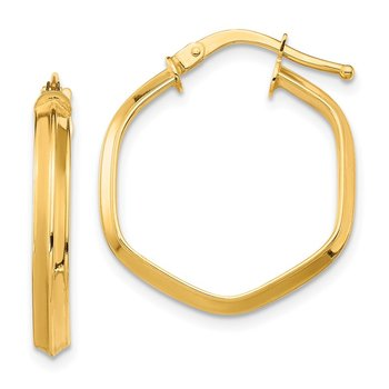 14K 3x1mm Knife Edge Hexagon Hoop Earrings