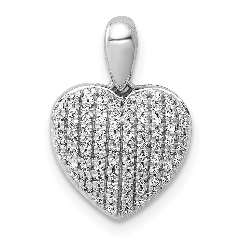 Quality Gold 14k White Gold 1/4ct. Diamond Heart Pendant