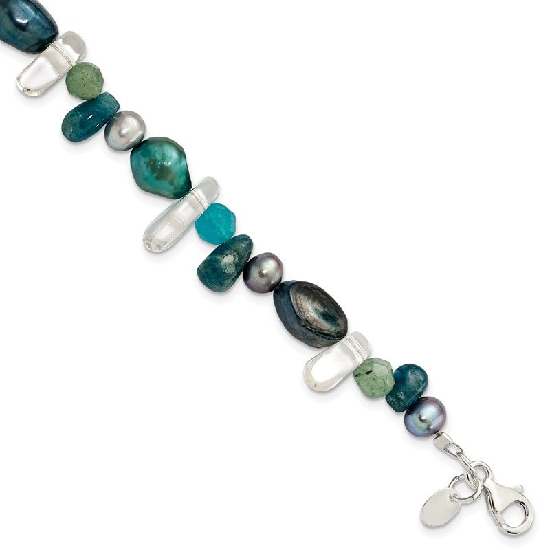 Quality Gold Sterling Silver Aventurine, Synthetic Blue Quartz/FWC Pearl Bracelet