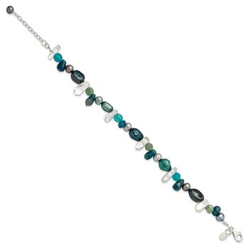 Sterling Silver Aventurine, Synthetic Blue Quartz/FWC Pearl Bracelet