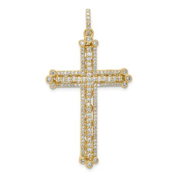14k Diamond Budded Cross Pendant