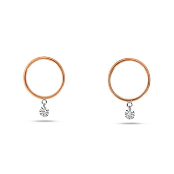 14K Rose Gold Circle Hoop Diamond Earrings