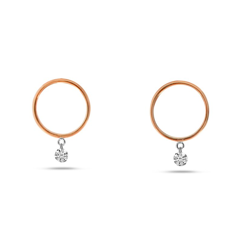 Color Merchants 14K Rose Gold Circle Hoop Diamond Earrings