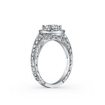 Elegant Halo Diamond Engraved Engagement Ring