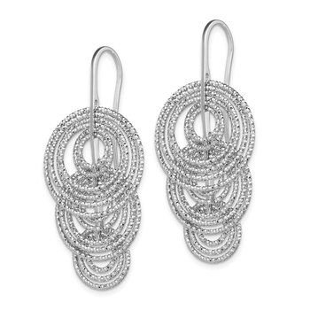 Sterling Silver Rhodium-plated Dangle D/C Circles Dangle Earrings