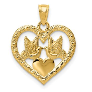 14K Polished Doves in Heart Pendant
