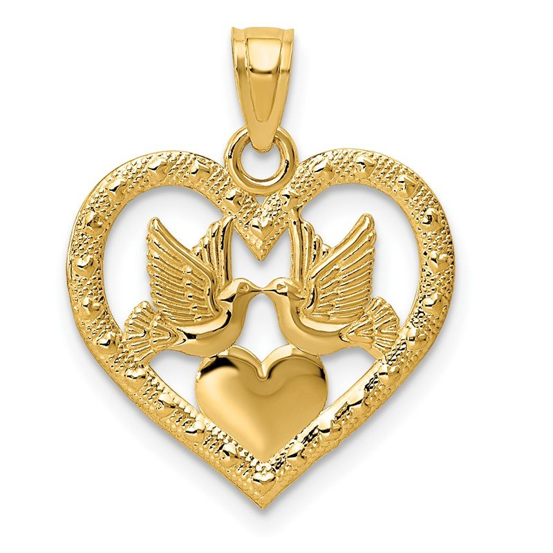 Quality Gold 14K Polished Doves in Heart Pendant