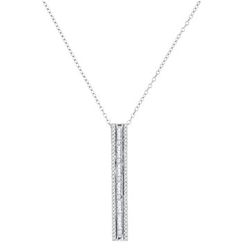10kt White Gold Womens Round Baguette Diamond Vertical Bar Pendant 1/2 Cttw