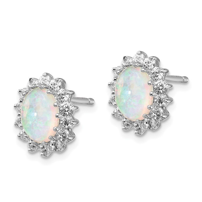 Cheryl M Cheryl M Sterling Silver Rhodium Plated CZ & Created Opal Post Earrings