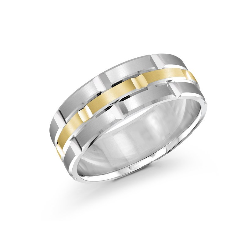Mardini Trendy 8mm white and yellow gold brick motif satin finish band with high polished grooved accents