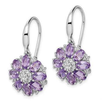 Sterling Silver Rhodium-plated Amethyst & White Topaz Dangle Earrings