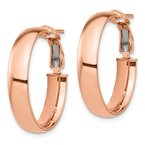 Quality Gold 14k Rose Gold High Polished 5mm Omega Back Hoop Earrings