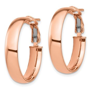 14k Rose Gold High Polished 5mm Omega Back Hoop Earrings