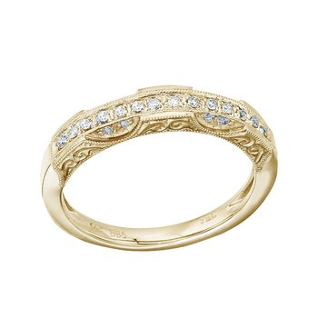 14K Yellow Gold Filigree Diamond Band Ring