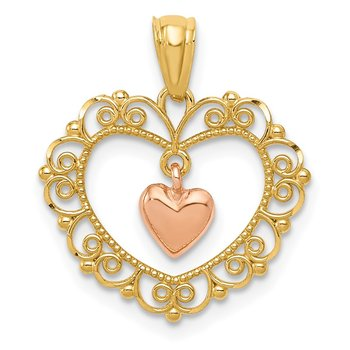 14K Two-tone Polished Dangle Heart in Heart Pendant