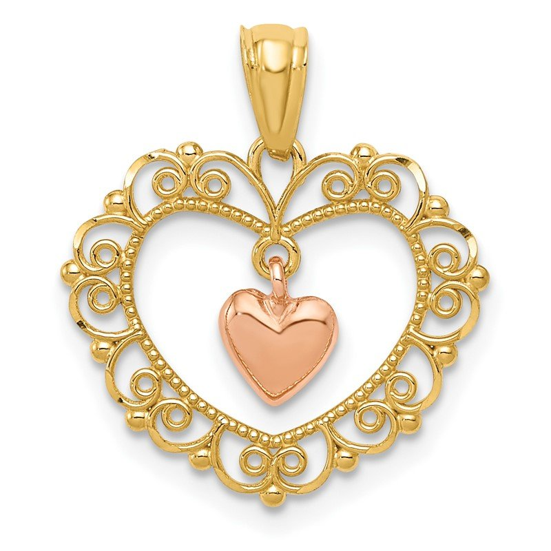 Quality Gold 14K Two-tone Polished Dangle Heart in Heart Pendant