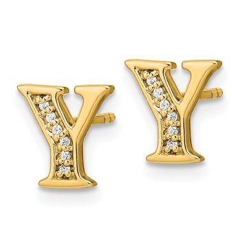 14k White Gold Diamond Initial Y Earrings