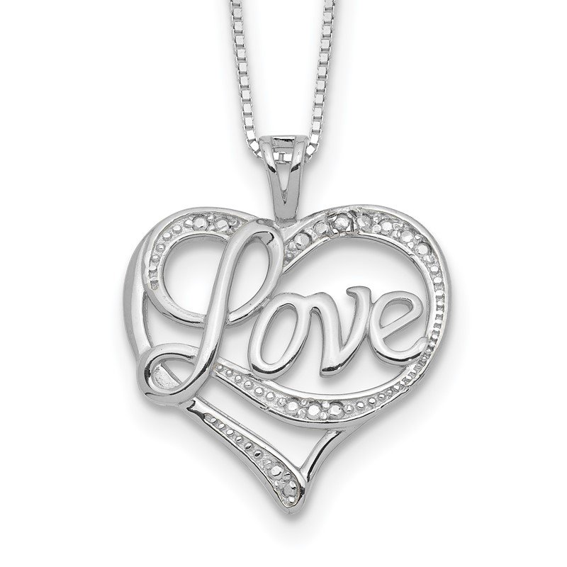 Lester Martin Online Collection Sterling Silver Rhodium-plated Diam. Love Necklace