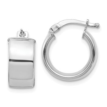 14k White Gold High Polished 7mm Hoop Earrings