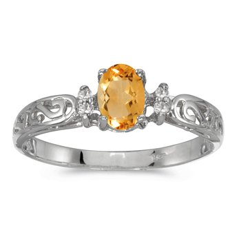 14k White Gold Oval Citrine And Diamond Filagree Ring