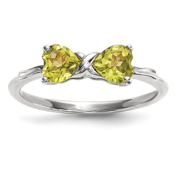 14k White Gold Polished Peridot Bow Ring