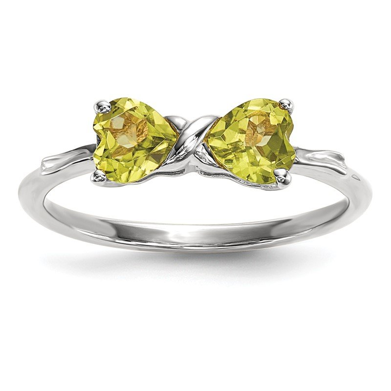 Quality Gold 14k White Gold Polished Peridot Bow Ring