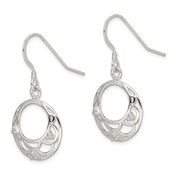 Sterling Silver Dangle with CZ Shepherd Hook Earrings