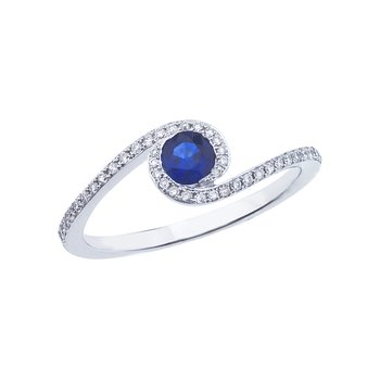 14k White Gold Sapphire and .14 ct Diamond Swirl Ring