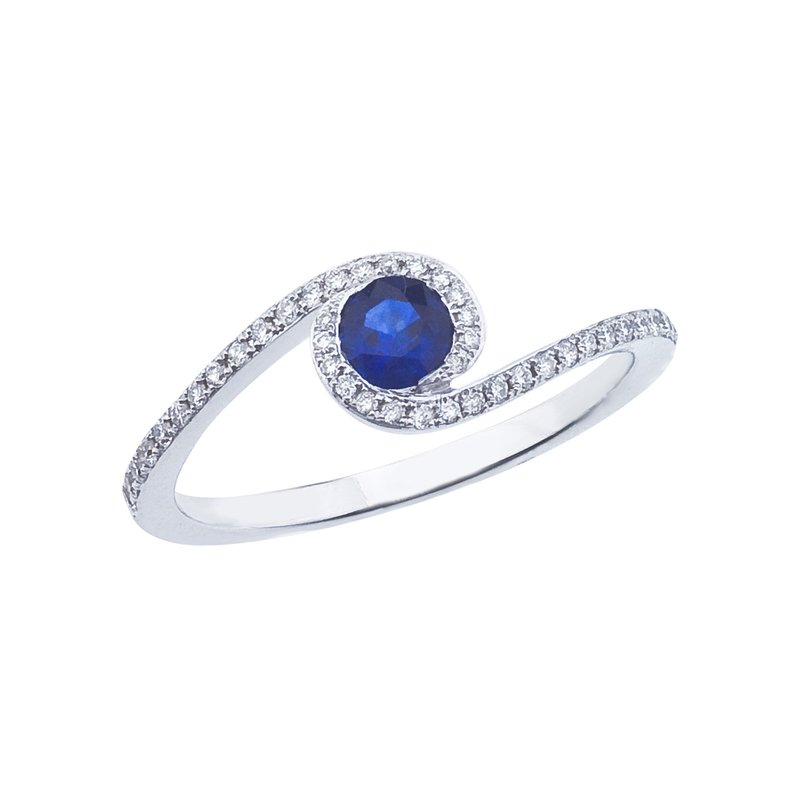 Color Merchants 14k White Gold Sapphire and .14 ct Diamond Swirl Ring