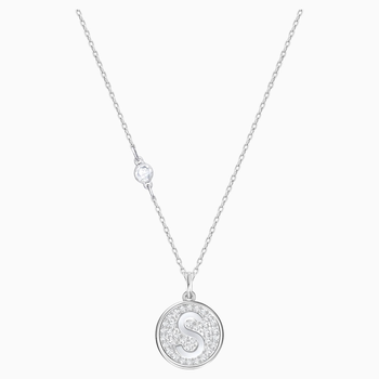 Letter S Pendant, White, Rhodium plating