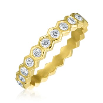 "Honeybee ""B"" Honeycomb Bezel Halfway Diamond Band Ring R887HG"