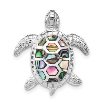 Sterling Silver Rhodium-plated Abalone Textured Turtle Slide