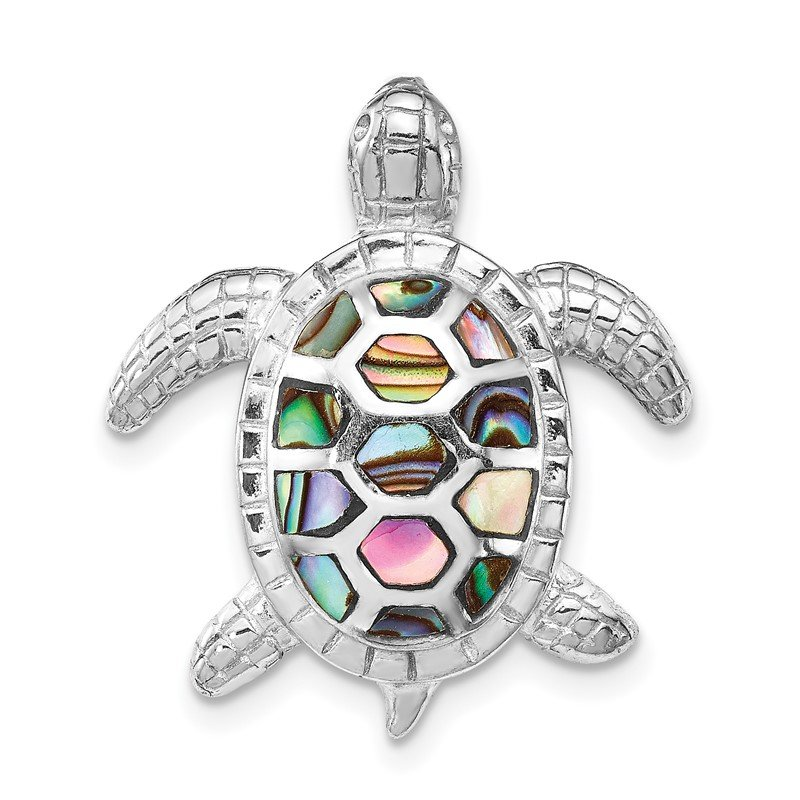 Quality Gold Sterling Silver Rhodium-plated Abalone Textured Turtle Slide