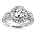 Caro74 Diamond Engagement Ring Mounting in 14K White Gold with Platinum Head (.78 ct. tw.)
