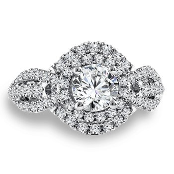 Diamond Engagement Ring Mounting in 14K White Gold with Platinum Head (.78 ct. tw.)