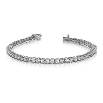 14k White Gold Diamond Setback Bracelet