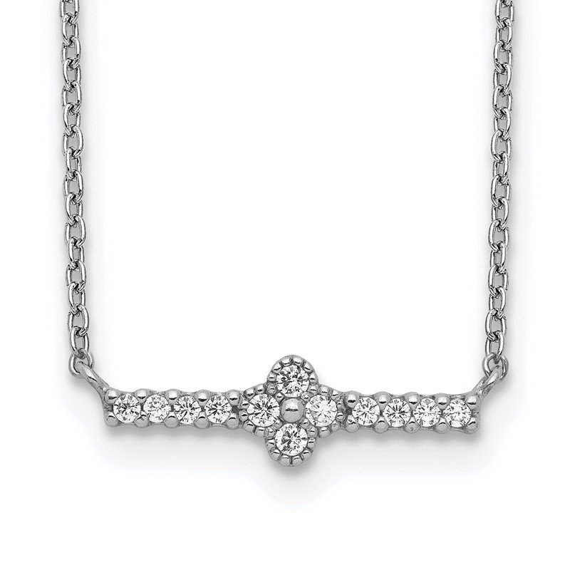 Quality Gold Sterling Silver Rhodium Plated CZ Fancy Bar Necklace
